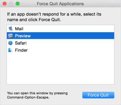 force quit running apps macbook