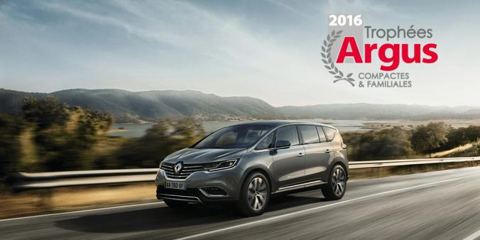 Trophée Argus 2016 pour Renault ESPACE dans la catégorie compactes et familliales