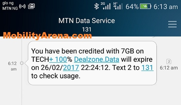 MTN 7GB data plan