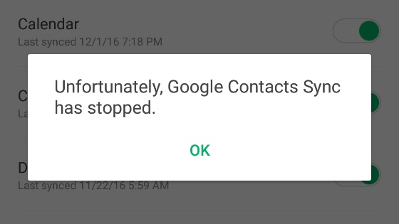 Unfortunately Google Contacts Sync has stopped