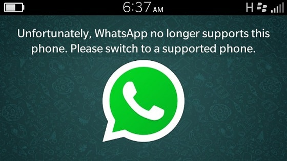 Whatsapp no longer supports Blackberry 10