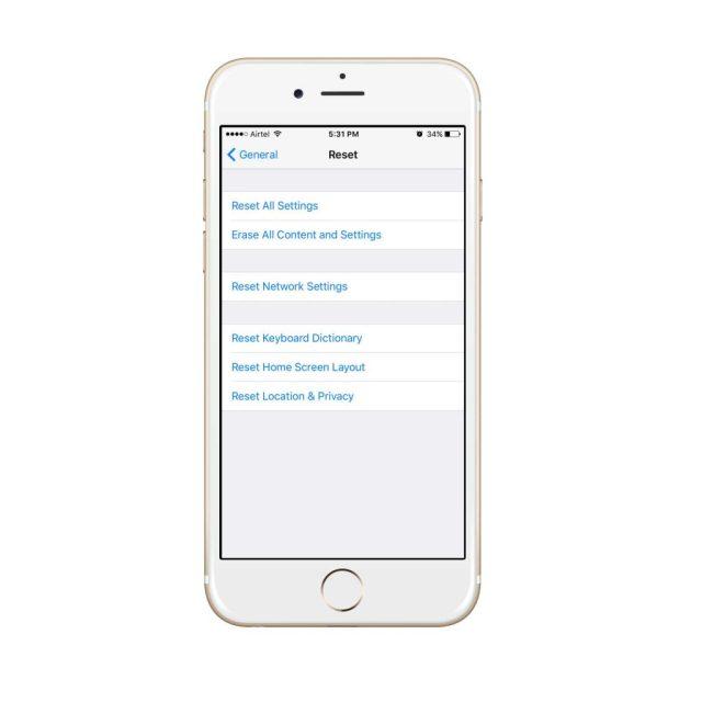 configuración de reinicio de iphone