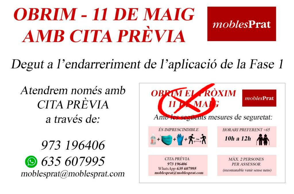 MOBLES PRAT – OBERTURA AMB CITA PRÈVIA EN FASE 0