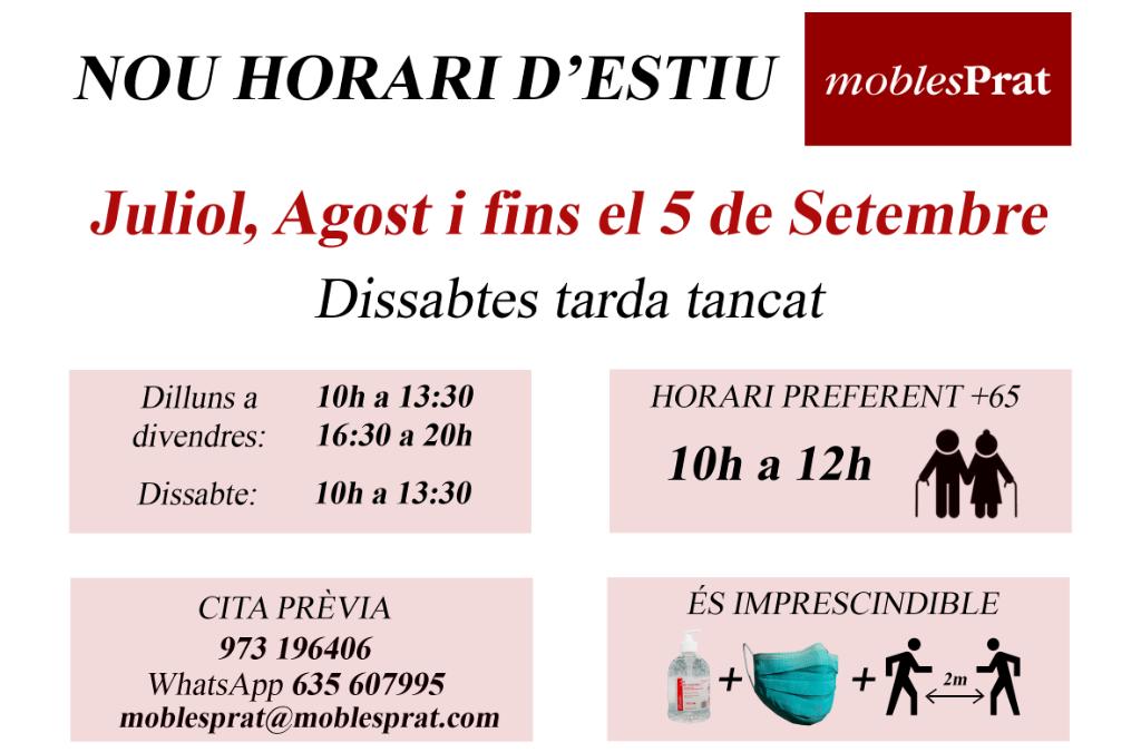 NOU HORARI D'ESTIU – TANQUEM DISSABTES TARDES