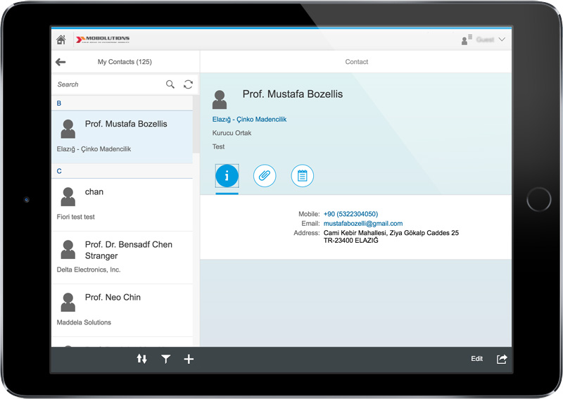 SAP Fiori - My Contacts App Screen