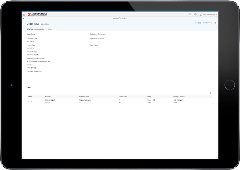 Material Document Fiori App, Goods Issue Fiori App, Goods Receipt Fiori App