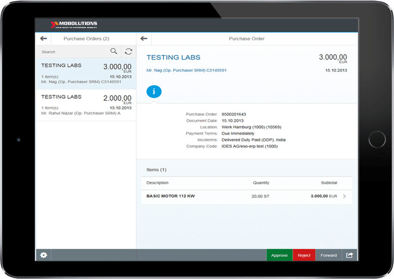 Fiori Approve Purchase Orders SRM App Screen | Fiori SRM App