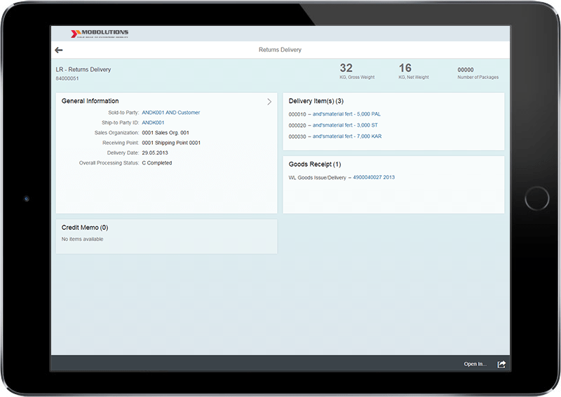 Fiori Returns Delivery App | SAP Fiori LE App