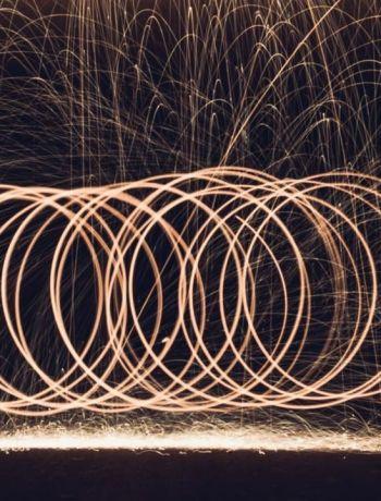 Lightpainting Stahlwolle Bild - erinnert ein wenig an die olympischen Ringe