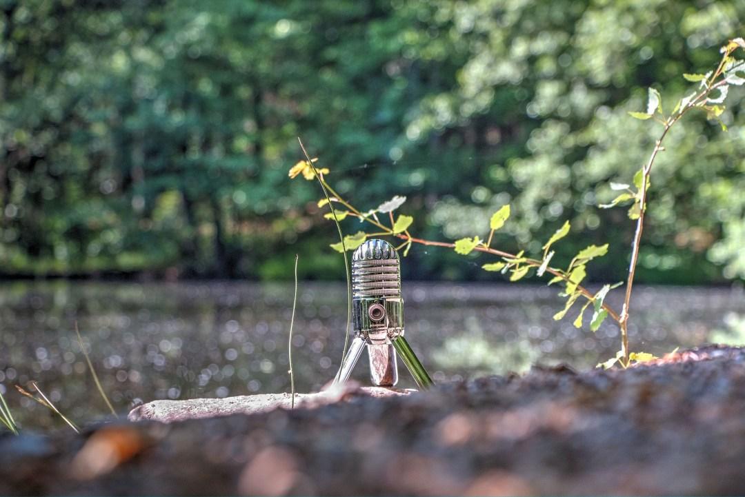 Ein Podcastingmikrophon in der Landschaft