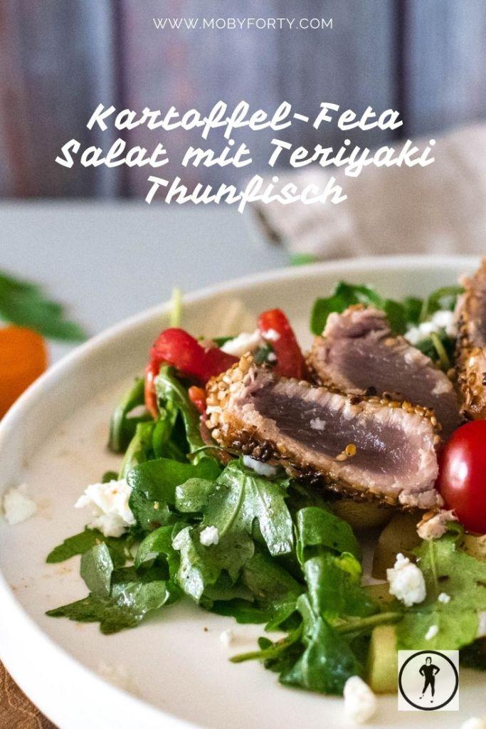 Kartoffel-Feta Sommersalat mit Teriyaki Thunfisch