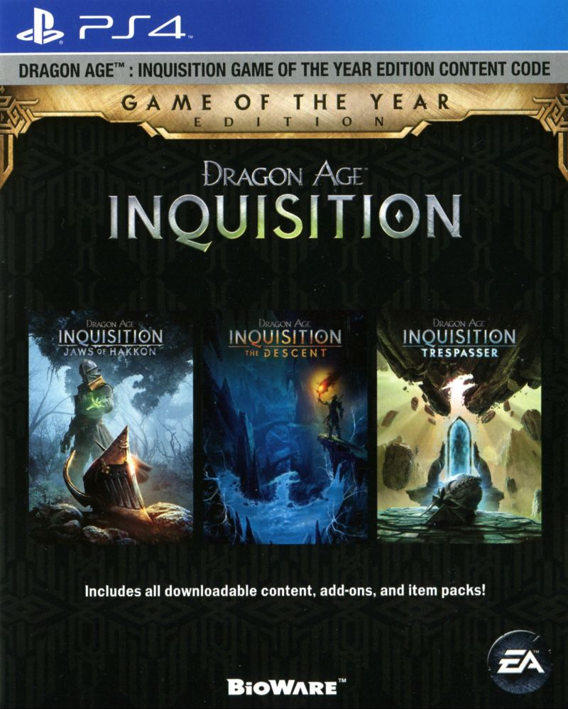 Dragon Age: Inquisition - Game of the Year Edition (2015) PlayStation 4 box cover art - MobyGames