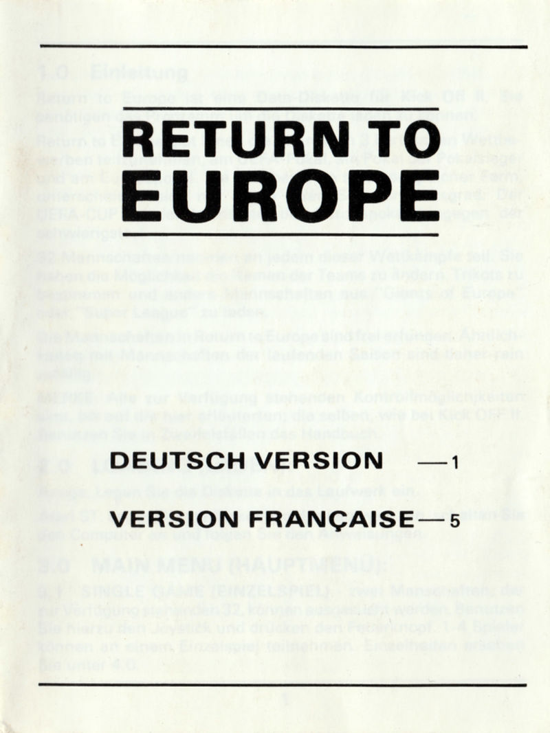 Kick Off 2: Return To Europe (1991) Amiga box cover art