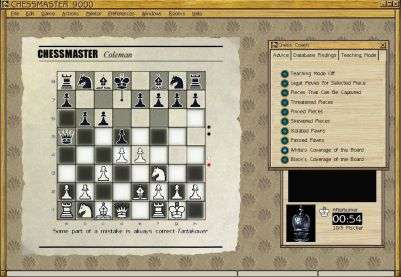 Chessmaster 9000 Windows The game has numerous aids to help you improve your game