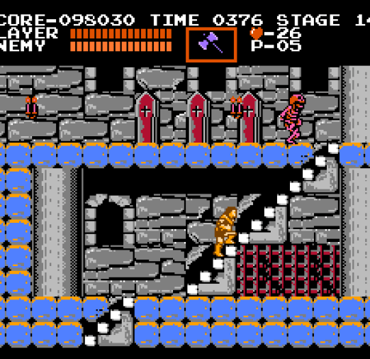 Castlevania NES The red skeletons can't be killed; you can only knock them down temporarily.