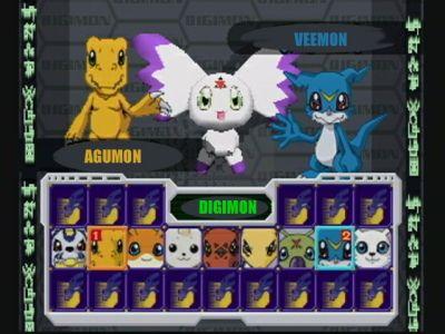 Digimon Rumble Arena PlayStation Select Screen