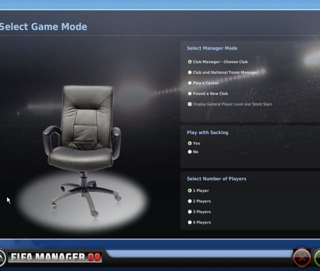 Fifa Manager 08 Windows Selecting The Game Mode You Can Choose Several Management And Difficulty