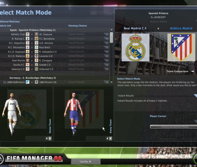Fifa Manager 08 Windows From This Screen You Can Select The View Mode Of All The