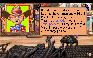 Freddy Pharkas: Frontier Pharmacist DOS There's a stampede coming! Run for the hills!