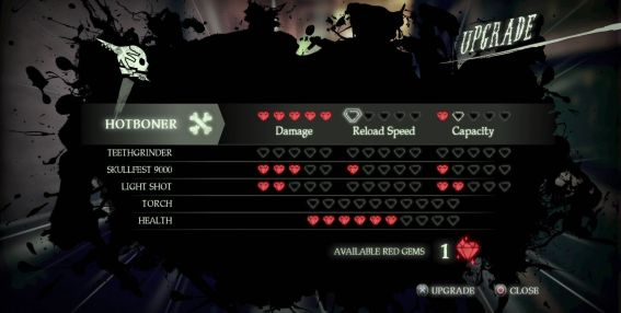 Shadows of the Damned PlayStation 3 Red gems are used to upgrade Johnson's functionality.