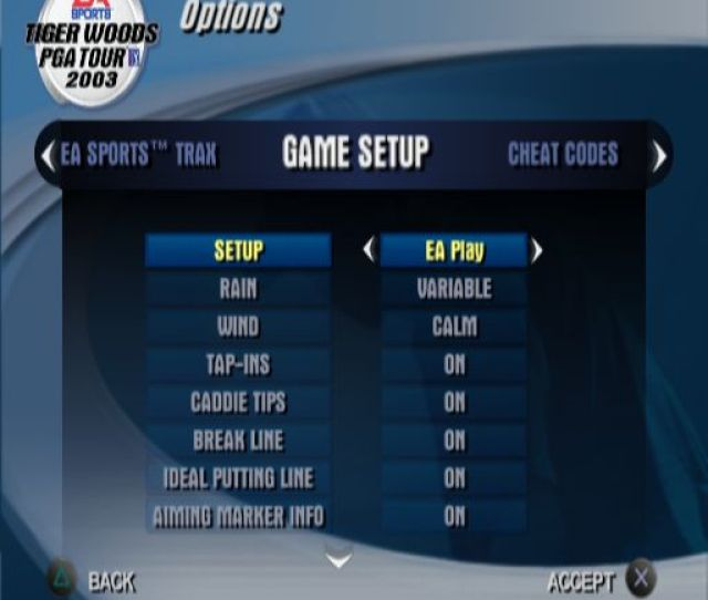 Tiger Woods Pga Tour  One Of The Game Configuration Screens