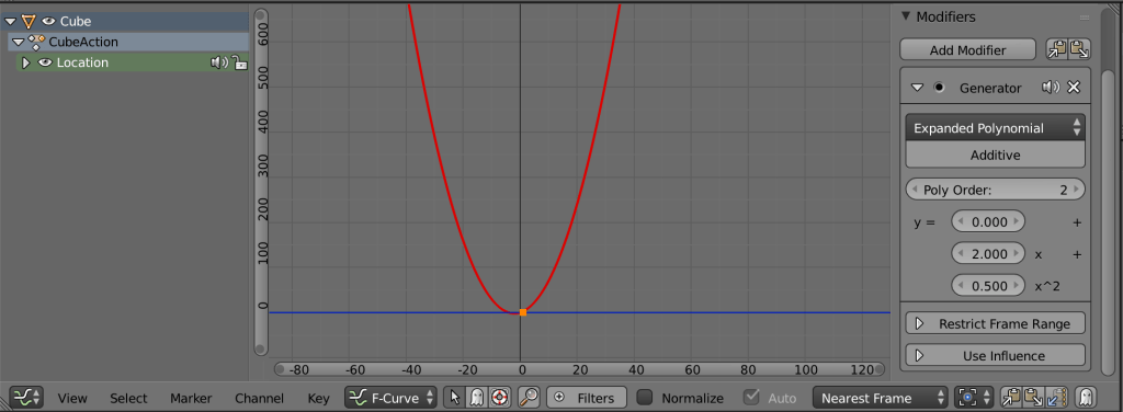 "A second order polynomial graph put into the blender graph editor with a ""generator"" modifier"