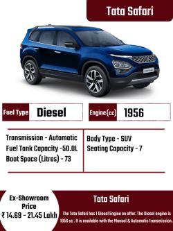 Tata Safari ₹ 14.69 – 21.45 Lakh Specifications:- Fuel Type – Diesel TransmissionTyp ...