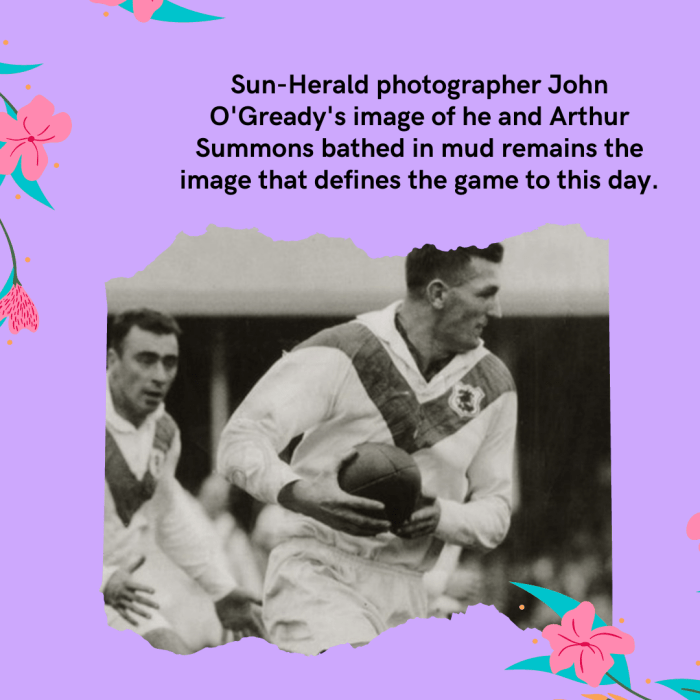 Sun-Herald photographer John O'Gready's image of he and Arthur Summons bathed in mud ...