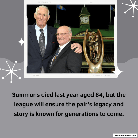 Summons died last year aged 84, but the league will ensure the pair's legacy and story is  ...