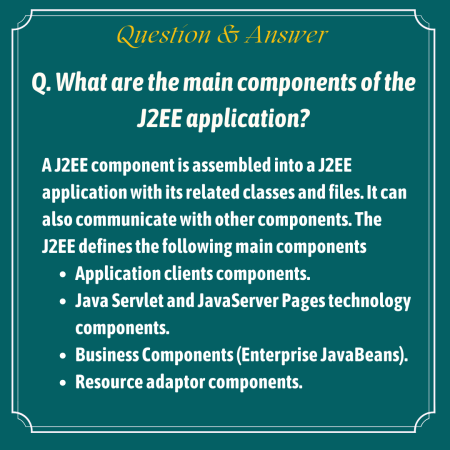 What are the main components of the J2EE application?