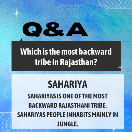 Which is the most backward tribe in Rajasthan?