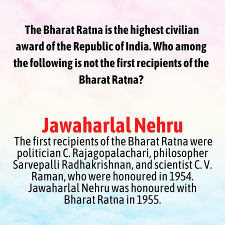 The Bharat Ratna is the highest civilian award of the Republic of India. Who among the following ...