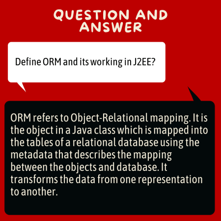 Define ORM and its working in J2EE?