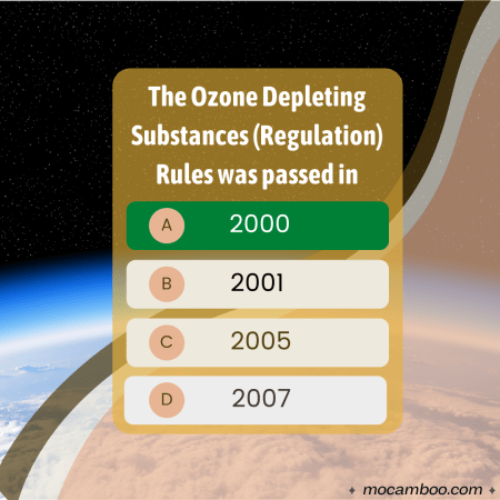 Q. The Ozone Depleting Substances (Regulation) Rules was passed in Ans. 2000