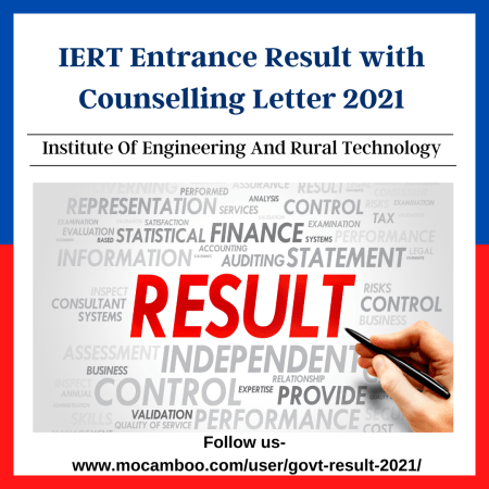 IERT Entrance Result with Counselling Letter 2021