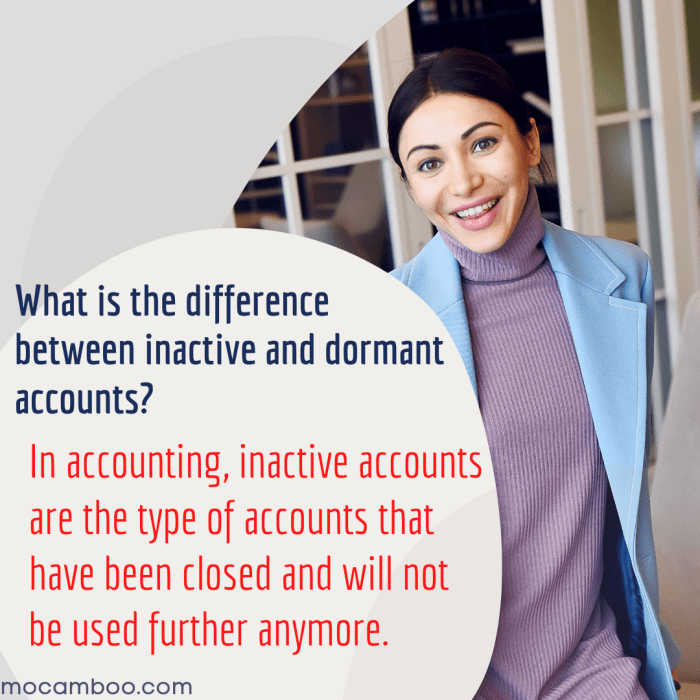 What is the difference between inactive and dormant accounts?