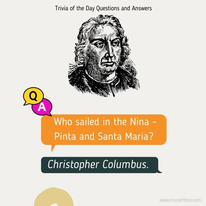 Who sailed in the Nina – Pinta and Santa Maria?