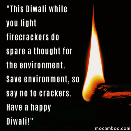 """""""This Diwali while you light firecrackers do spare a thought for the environment. Save env ..."""