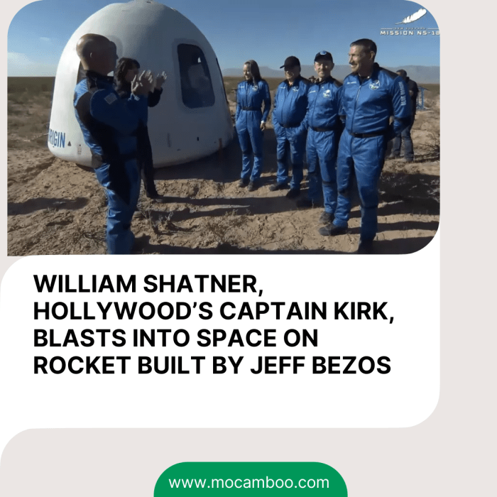 WILLIAM SHATNER, HOLLYWOOD'S CAPTAIN KIRK, BLASTS INTO SPACE ON ROCKET BUILT BY JEFF BEZOS