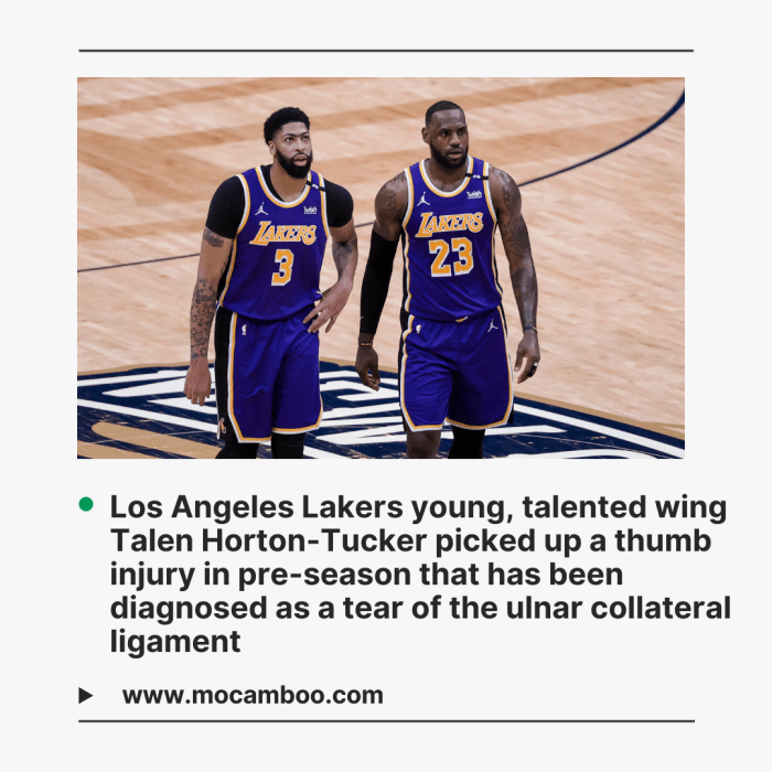 Los Angeles Lakers young, talented wing Talen Horton-Tucker picked up a thumb injury in pre-seas ...