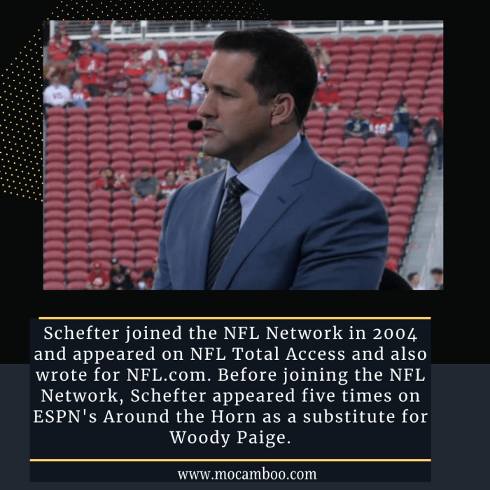 Schefter joined the NFL Network in 2004 and appeared on NFL Total Access and also wrote for NFL. ...