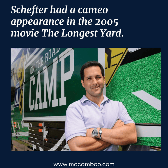 Schefter had a cameo appearance in the 2005 movie The Longest Yard.