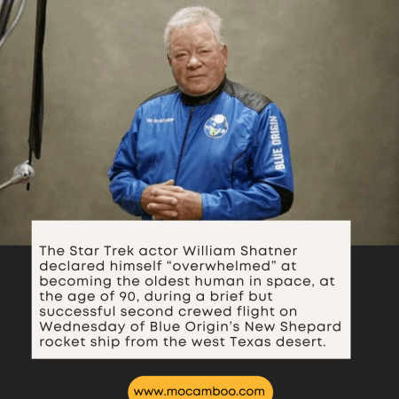 """The Star Trek actor William Shatner declared himself """"overwhelmed"""" at becoming the oldest human  ..."""