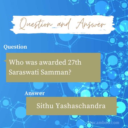 Who was awarded 27th Saraswati Samman?