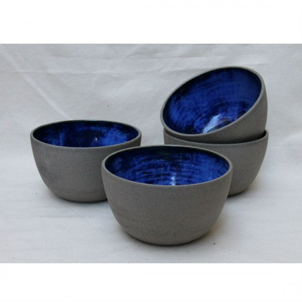 Handmade Ceramic Bowl in Grey and Cobalt Blue  Homeware Furniture And Gifts  Mocha