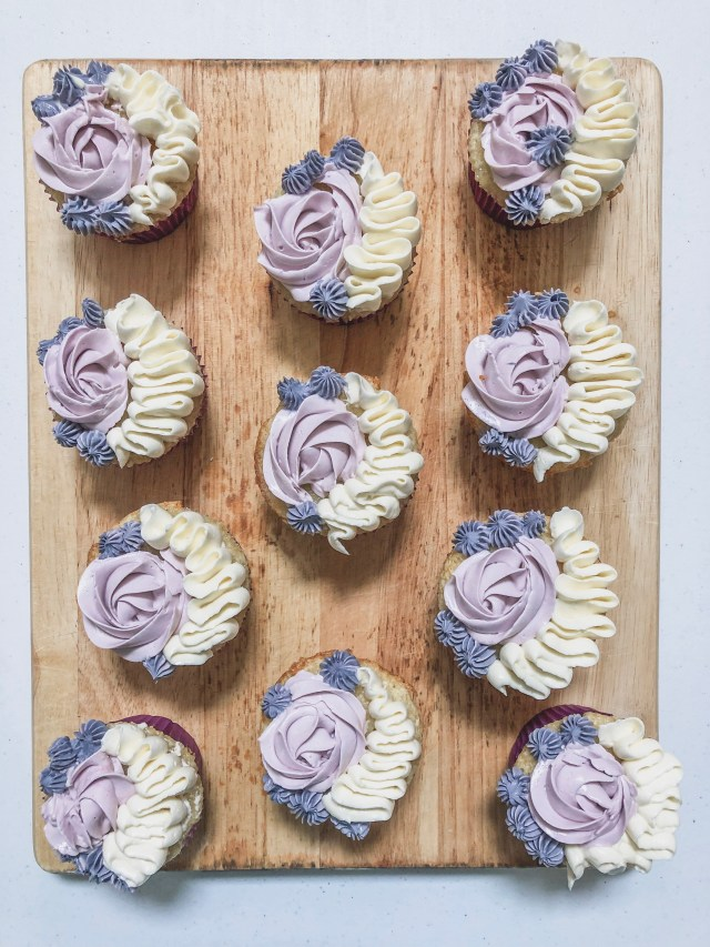 Light and Fluffy Lavender Cupcakes | Mochi Mommy