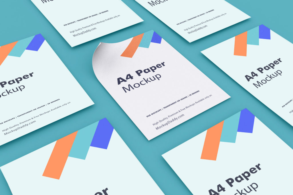 Tiled Perspective A4 Paper Mockup - Mockup Daddy