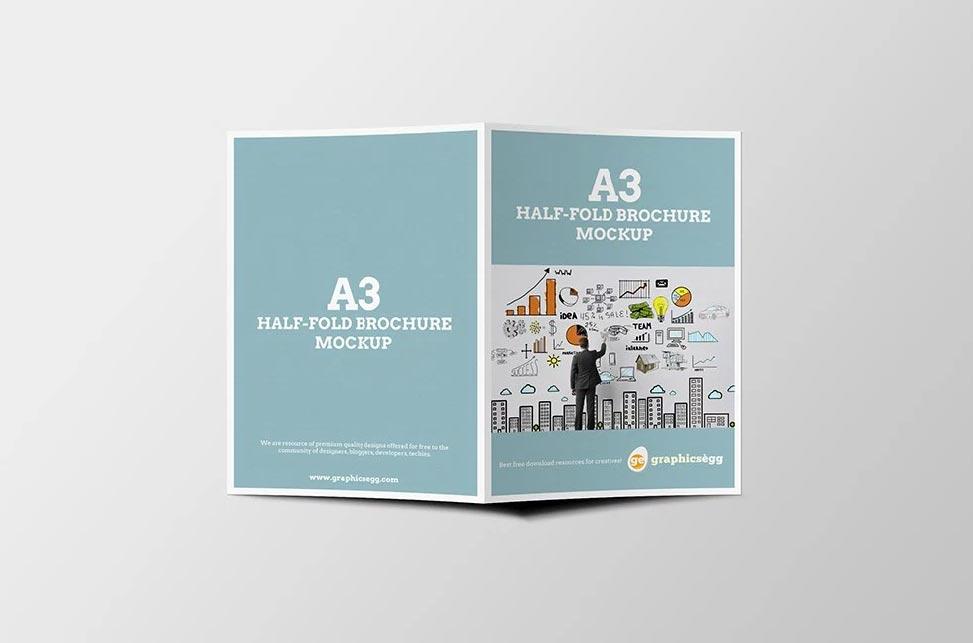 download free graphic resources for bifold brochure. A3 Half Fold Brochure Mockup Mockup World