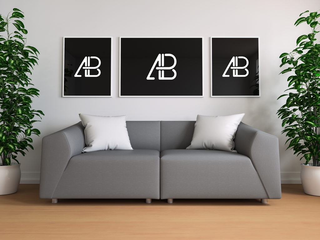 living room gallery 3 posters mockup