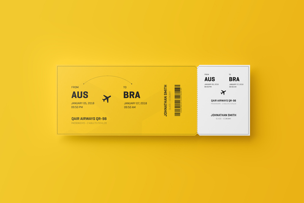 Make your presentation attractive by using this envelope mockup and embed your front and backside of envelope design. Flight Ticket Mockup Mockup World
